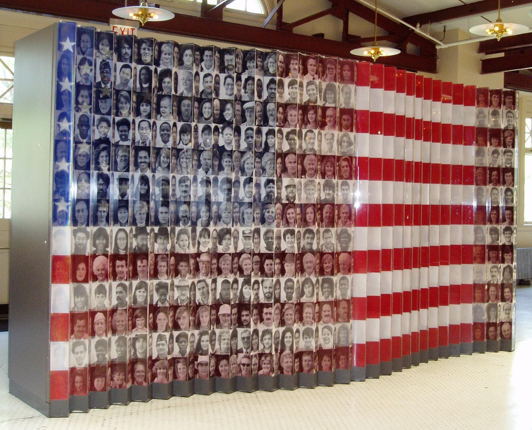 immigrants on flag