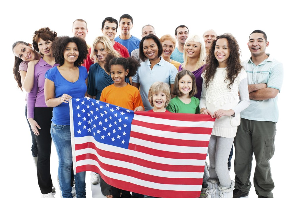 Large group of people with American flag